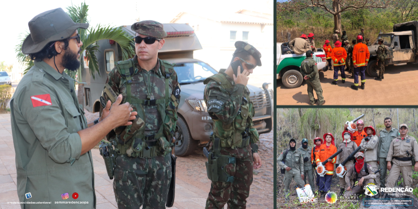 Semma, Exército e Corpo de Bombeiros em ação em conjunto para combater incêndio