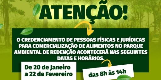 Prefeitura de Redenção abre credenciamento para comercialização de alimentos no Parque Natural