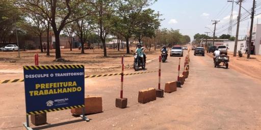 Trecho da Avenida Brasil interditado para finalização das obras